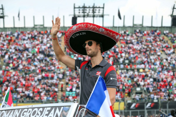Romain Grosjean (FRA) Haas F1 on the drivers parade at Formula One World Championship, Rd18, Mexican Grand Prix, Race, Circuit Hermanos Rodriguez, Mexico City, Mexico, Sunday 29 October 2017.