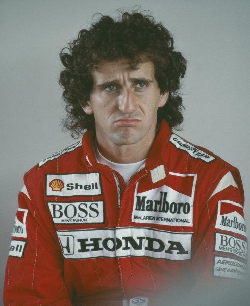 Alain Prost, McLaren, during practice.