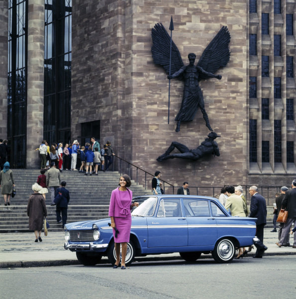 Hillman Minx at Coventry Cathedral.