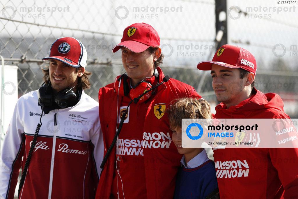 (L to R): Antonio Giovinazzi, Alfa Romeo Racing, John Elkann, FIAT Chairman with his son and Charles Leclerc, Ferrari