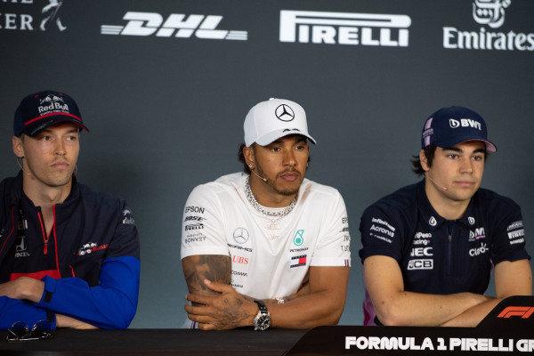 Daniil Kvyat, Toro Rosso, Lewis Hamilton, Mercedes AMG F1 and Lance Stroll, Racing Point