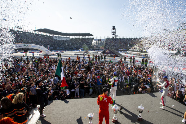 Winner Benito Guerra (MEX) celebrates with runner up Loic Duval (FRA) and ROC Skills Challenge winner Sebastian Vettel (GER) on the podium during the Race of Champions on Sunday 20 January 2019 at Foro Sol, Mexico City, Mexico