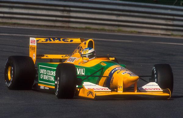 1992 Belgian Grand Prix.Spa-Francorchamps, Belgium.28-30 August 1992.Michael Schumacher (Benetton B192 Ford) 1st position. His maiden Grand Prix win.Ref-92 BEL 04.World Copyright - LAT Photographic
