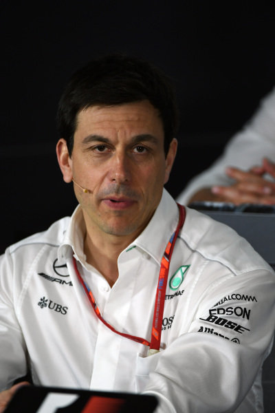 Toto Wolff (AUT) Mercedes AMG F1 Director of Motorsport in the Press Conference at Formula One World Championship, Rd1, Australian Grand Prix, Practice, Albert Park, Melbourne, Australia, Friday 24 March 2017.