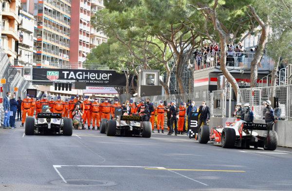 Dan Ticktum (GBR, Carlin), Liam Lawson (NZL, Hitech Grand Prix), and Oscar Piastri (AUS, Prema Racing), arrive in Parc Ferme