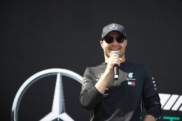 Valtteri Bottas, Mercedes AMG F1, on stage