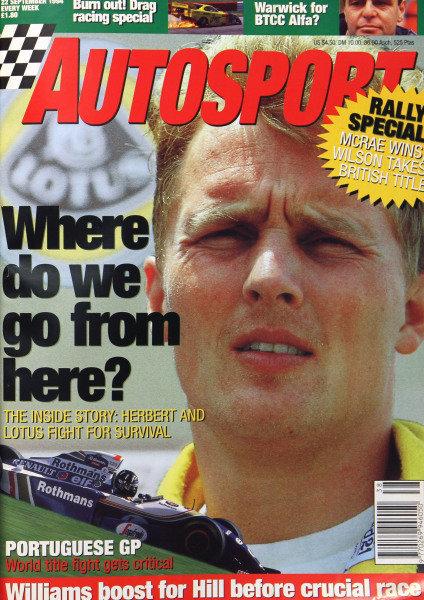 Cover of Autosport magazine, 22nd September 1994