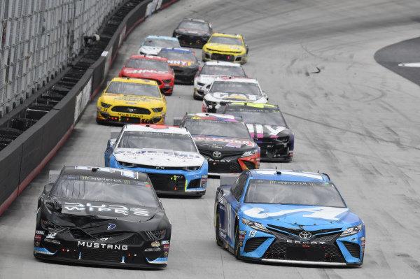 #32: Corey LaJoie, Go FAS Racing, Ford Mustang DUDE Wipes, #19: Martin Truex Jr., Joe Gibbs Racing, Toyota Camry Auto Owners Insurance