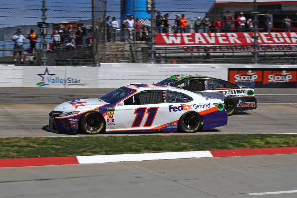 #11: Denny Hamlin, Joe Gibbs Racing, Toyota Camry FedEx Ground #52: Jeb Burton, Rick Ware Racing, Ford Mustang