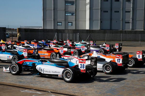 FIA F3 European Championship - Round 1, Race 3. Silverstone, Northamptonshire, UK 10th - 12th April 2015 Parc ferme, 38 Raoul Hyman (ZAF, Team West-Tec F3, Dallara F312 - Mercedes-Benz), 17 Julio Moreno (ECU, ThreeBond with T-Sport, Dallara F312 – NBE). Copyright Free FOR EDITORIAL USE ONLY. Mandatory Credit: FIA F3. ref: Digital Image FIAF3-1428842391