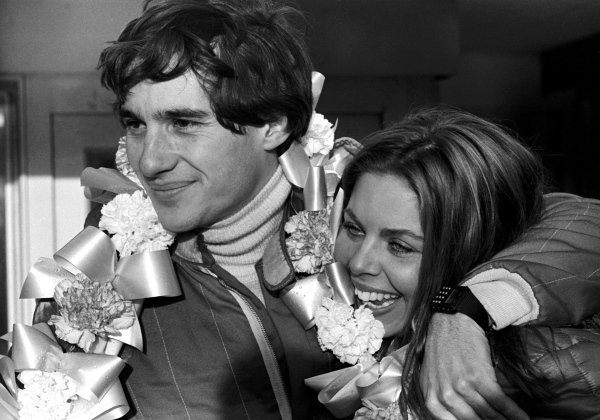 Ayrton Senna da Silva (BRA) with his wife Liliane celebrates his first single seater race victory.  Townsend Thoresen Formula Ford 1600 Championship, Brands Hatch, England, 15 March 1981.