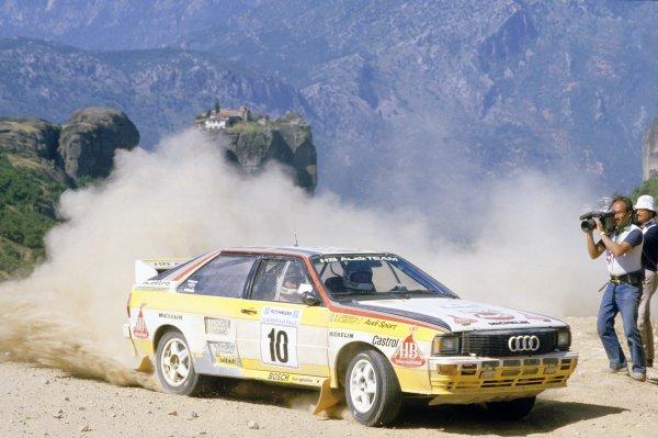 1984 World Rally Championship.Acropolis Rally, Greece. 26-31 May 1984.Stig Blomqvist/Bjorn Cederberg (Audi Quattro A2), 1st position.World Copyright: LAT PhotographicRef: 35mm transparency 84RALLY06