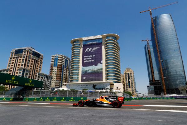 Baku City Circuit, Baku, Azerbaijan. Friday 23 June 2017. Stoffel Vandoorne, McLaren MCL32 Honda, drives in front of the Baku skyline. World Copyright: Steven Tee/LAT Images ref: Digital Image _O3I0647