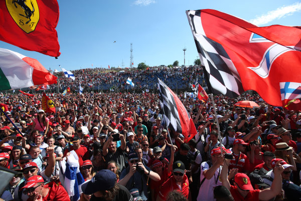 Hungaroring, Budapest, Hungary.  Sunday 30 July 2017. Ferrari fans celebrate after the race. World Copyright: Coates/LAT Images  ref: Digital Image AN7T9775