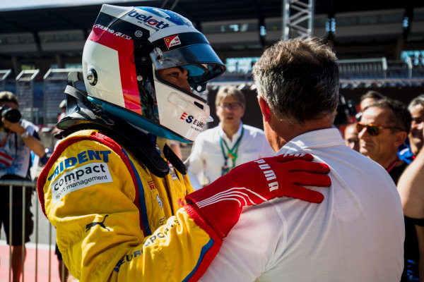 2017 GP3 Series Round 2.  Red Bull Ring, Spielberg, Austria. Sunday 9 July 2017. Giuliano Alesi (FRA, Trident), with Jean Alesi. Photo: Zak Mauger/GP3 Series Media Service. ref: Digital Image _56I4089
