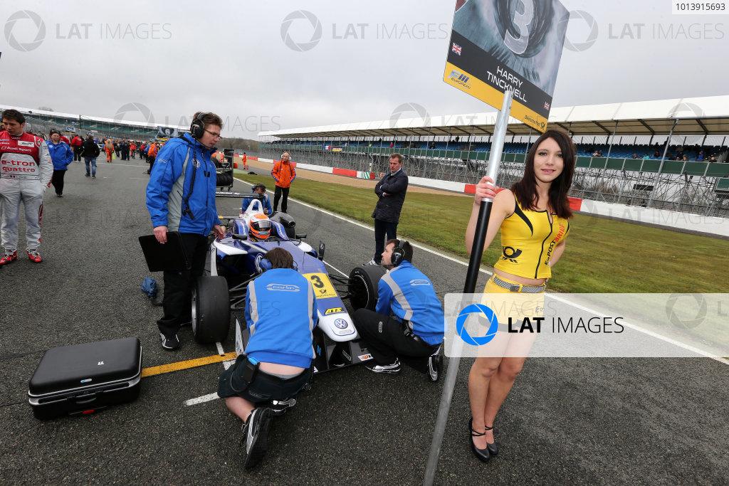 2013 FIA F3 European Championship, Silverstone, Northamptonshire. 12th - 14th April 2013. Grid Girl. World Copyright: Ebrey / LAT Photographic.