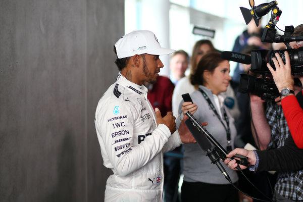 Mercedes F1 W08 Formula 1 Launch. Silverstone, Northampton, UK. Thursday 23 February 2017. Lewis Hamilton, Mercedes AMG, talks to the media.  World Copyright: Hoyer/Ebrey/LAT Images Ref: MDH19080