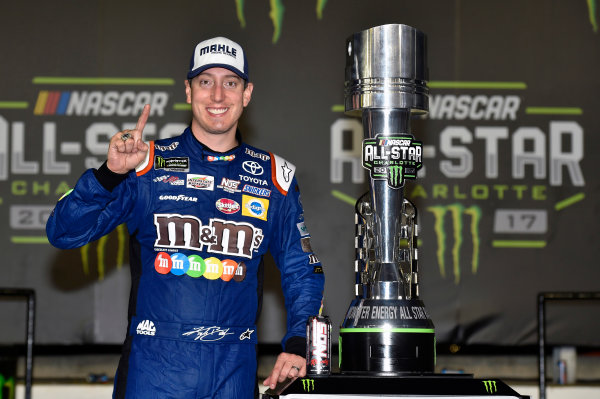 Monster Energy NASCAR Cup Series Monster Energy NASCAR All-Star Race Charlotte Motor Speedway, Concord, NC USA Saturday 20 May 2017 Kyle Busch, Joe Gibbs Racing, M&M's Caramel Toyota Camry celebrates his win in Victory Lane World Copyright: Nigel Kinrade LAT Images ref: Digital Image 17CLT1nk07389