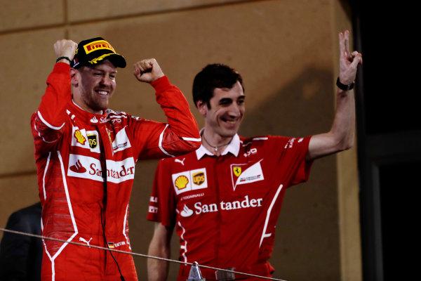 Bahrain International Circuit, Sakhir, Bahrain.  Sunday 16 April 2017. Sebastian Vettel, Ferrari, celebrates on the odium with Matteo Togninalli, Chief Race Engineer, Ferrari. World Copyright: Charles Coates/LAT Images ref: Digital Image _27I0805