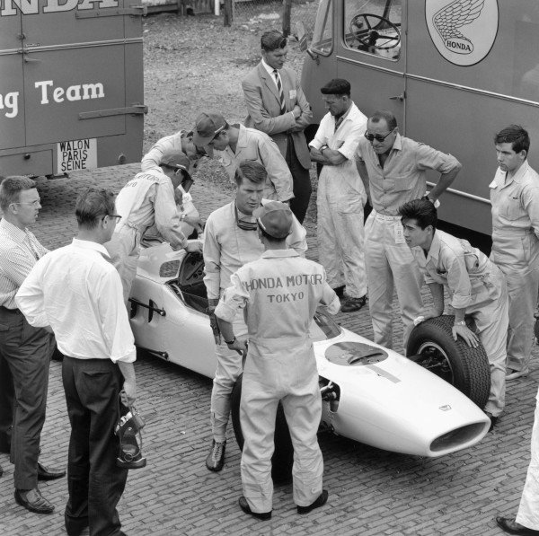1964 German Grand PrixNurburgring, Germany. 31st July - 02nd AugustHonda take part in their first Grand Prix.World Copyright - LAT Photographic ref: B&W Negative Image no. 25923