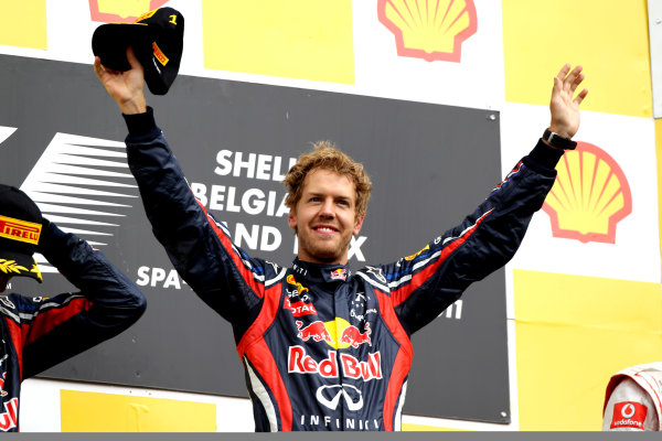 Spa-Francorchamps, Spa, Belgium28th August 2011.Sebastian Vettel, Red Bull Racing RB7 Renault, 1st position, on the podium. Portrait. Podium. World Copyright: Andy Hone/LAT Photographicref: Digital Image CI0C2476