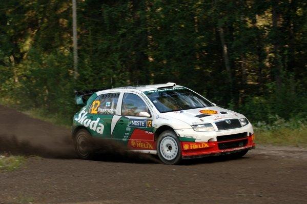 Jani Paasonen (FIN), Skoda Fabia WRC.FIA World Rally Championship, Rd10, Neste Rally Finland, Jyvaskyla, Finland, Shakedown, 4 August 2005.DIGITAL IMAGE