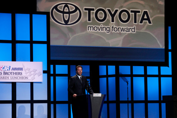 30 November - 2 December, 2011, Las Vegas, Nevada, USAEd Laukes, Vice President of Marketing Communications and Motorsports for Toyota accepts the 2011 NASCAR Marketing Acheivement Award.(c)2011, Michael L. LevittLAT Photo USA