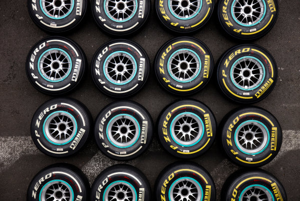 Spa-Francorchamps, Spa, Belgium 25th August 2011. Tyres for the weekend. Detail. Tyres. World Copyright: Steve Etherington/LAT Photographic ref: Digital Image SNE26352
