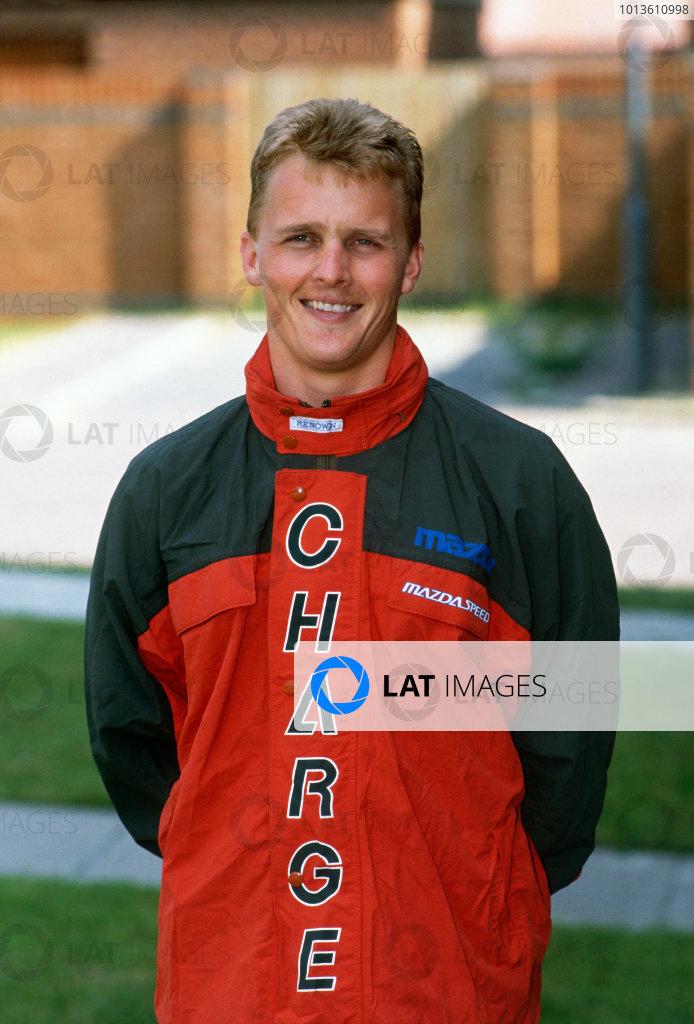 Le Mans, France. 22 - 23 June 1991.Johnny Herbert (Mazda 787B), 1st position, portrait. World Copyright: LAT Photographic.Ref: 91LM
