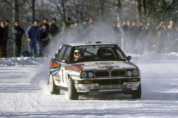1989 World Rally Championship.Monte Carlo Rally, Monaco. 21-26 January 1989.Didier Auriol/Bernard Occelli (Lancia Delta Integrale), 2nd position.World Copyright: LAT PhotographicRef: 35mm transparency 89RALLY08