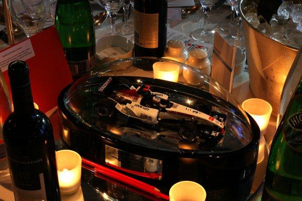 2006 Autosport AwardsGrosvenor House Hotel, London. 3rd December 2006.Jenson Button, Honda RA106 Table Centre. Detail.World Copyright: Peter Spinney/LAT Photographicref: Digital Image RK4O2539