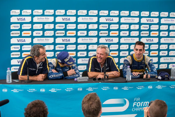 2015/2016 FIA Formula E Championship. London ePrix, Battersea Park, London, United Kingdom. Sunday 3 July 2016. Sebastien Buemi (SUI), Renault e.Dams Z.E.15 and Nicolas Prost (FRA), Renault e.Dams Z.E.15 post race press conference. Photo: Andrew Ferraro/LAT/Formula E ref: Digital Image _FER7641