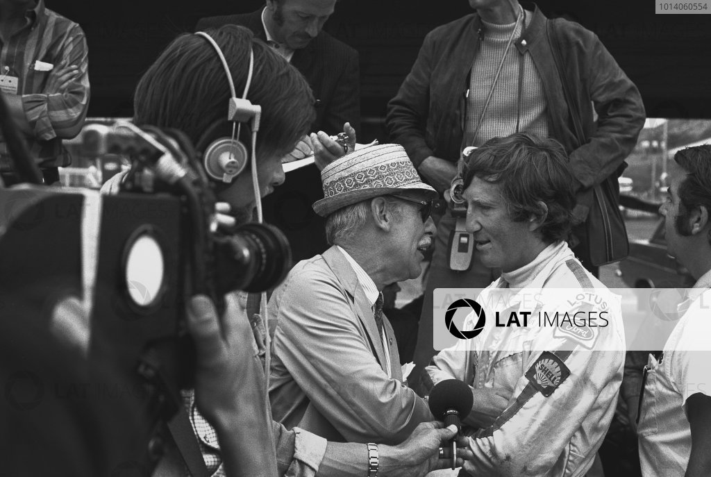 1970 German Grand Prix. Hockenheim, Germany. 31st July - 2nd August 1970. Jochen Rindt (Lotus 72-Ford), 1st position, is interviewed in the pits, portrait.  World Copyright: LAT Photographic. Ref: 3235 - 21.