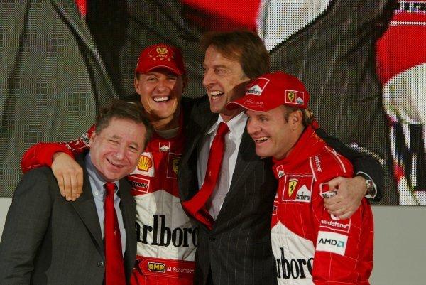 L-R; Ferrari General Manager Jean Todt (FRA), 2002 F1 World Champion Michael Schumacher, President Luca di Montezemolo (ITA) & Rubens Barrichello (BRA).Ferrari F2003-GA Launch, Maranello, Italy, 7 February 2003.DIGITAL IMAGE