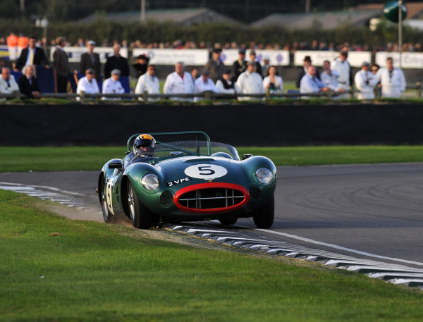 2015 Goodwood Revival Meeting Goodwood Estate, West Sussex, England 11th - 13th September 2015 Sussex Trophy Andy Newall Aston Martin DBR1 World Copyright : Jeff Bloxham/LAT Photographic Ref : Digital Image DSC_1521
