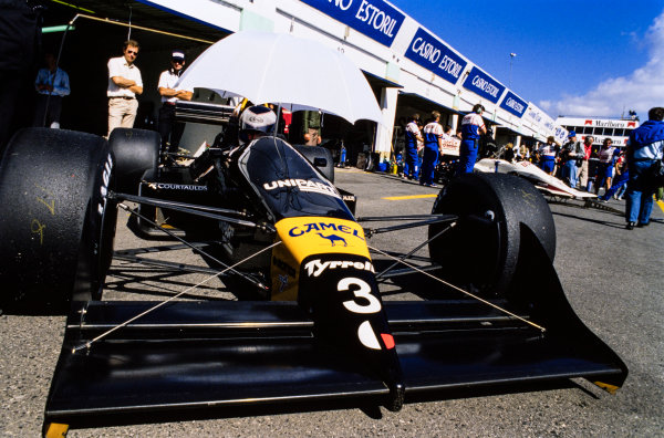 1988 Portuguese Grand Prix. Estoril, Portugal. 23rd - 25th September 1988. Jonathan Palmer (Tyrrell 017-Ford), retired, action.  World Copyright: LAT Photographic.