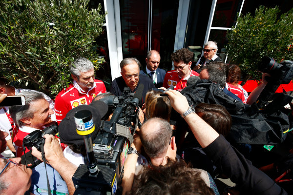 Red Bull Ring, Spielberg, Austria. Sunday 09 July 2017. Sergio Marchionne, Chief Executive Officer, Fiat Chrysler and Chairman, Ferrari, and Maurizio Arrivabene, Team Principal, Ferrari, tak to the media. World Copyright: Andy Hone/LAT Images ref: Digital Image _ONY2260