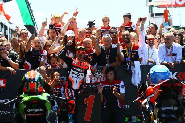 2017 Superbike World Championship - Round 7 Misano, Italy. Sunday 18 June 2017 Race winner Marco Melandri, Ducati Team World Copyright: Gold and Goose Photography/LAT Images ref: Digital Image WSBK-Post-100-9264 1.20.17 AM