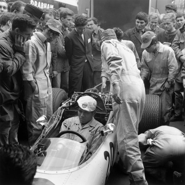 1964 German Grand PrixNurburgring, Germany. 31st July - 02nd AugustHonda take part in their first Grand Prix.World Copyright - LAT Photographic ref: B&W Negative Image no. 26010