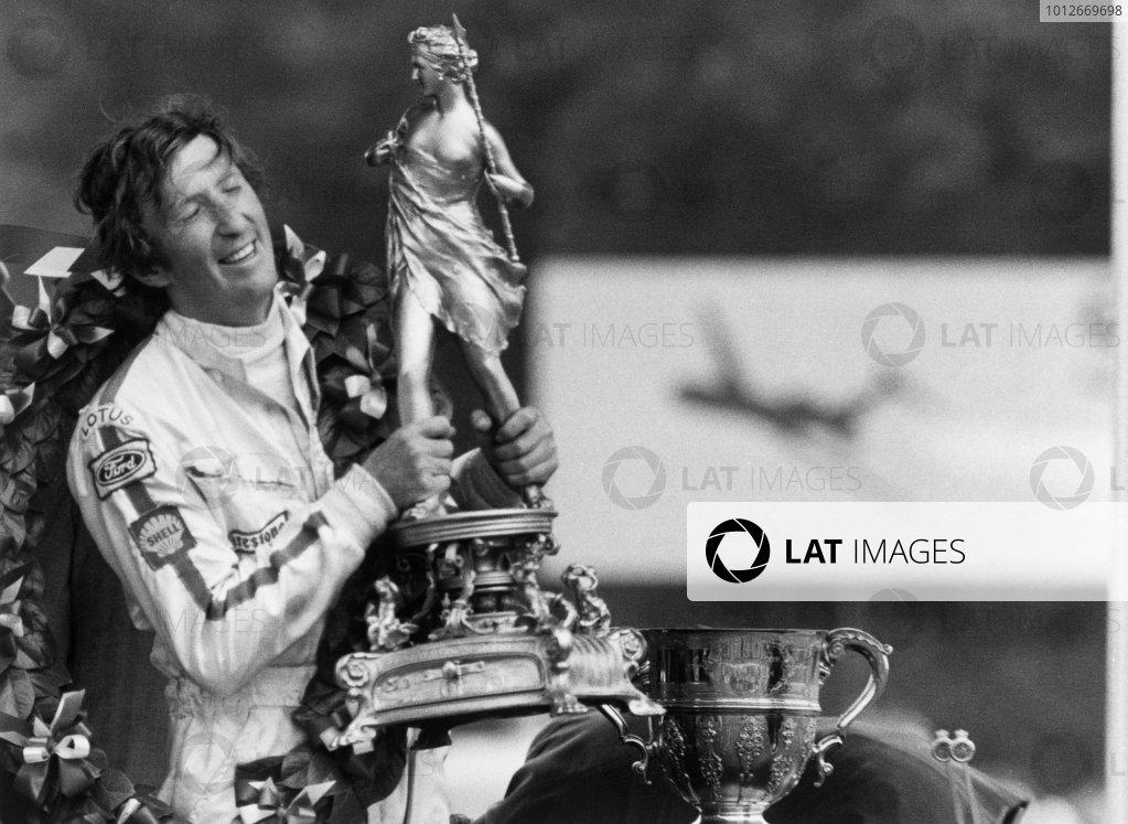 Brands Hatch, England.16-18 July 1970.Jochen Rindt (Lotus 72C Ford) 1st position, podium, portrait.World Copyright:  LAT Photographic.Ref: L70/720 - 30.