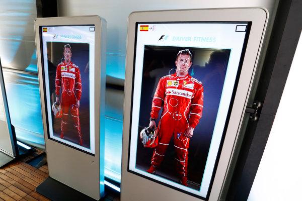 Autodromo Hermanos Rodriguez, Mexico City, Mexico. Sunday 29 October 2017. Kimi Raikkonen, Ferrari, featured in an F1 driver fitness display. World Copyright: Sam Bloxham/LAT Images  ref: Digital Image _W6I0558