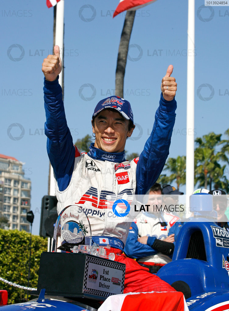 19-21 April 2013, Long Beach, California USA Race Winner Takuma Sato.(c)2013, Todd Davis LAT Photo USA