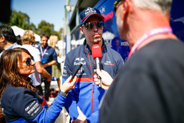 Daniil Kvyat, Toro Rosso talks to the press