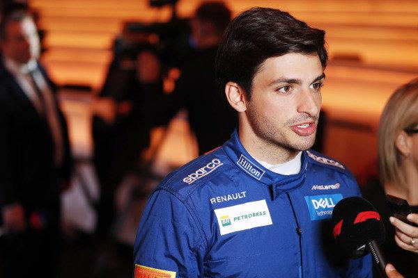 Carlos Sainz Jr, McLaren is interviewed