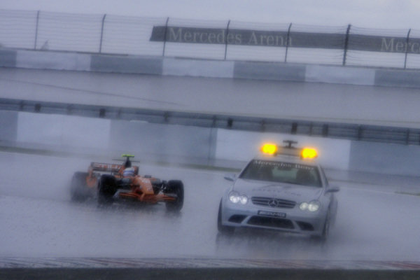 Rookie Markus Winkelhock, Spyker F8-VII Ferrari finds himself in an unexpected position as he leads the race behind the Safety Car.