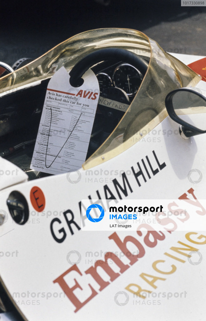 An Avis car hire service checklist jokingly placed on the steering wheel of Graham Hill's Shadow DN1 Ford.