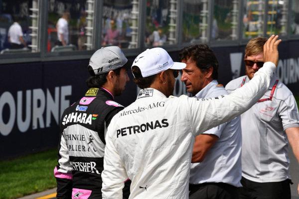 Lewis Hamilton (GBR) Mercedes AMG F1 and Sergio Perez (MEX) Force India at Formula One World Championship, Rd1, Australian Grand Prix, Race, Albert Park, Melbourne, Australia, Sunday 26 March 2017.