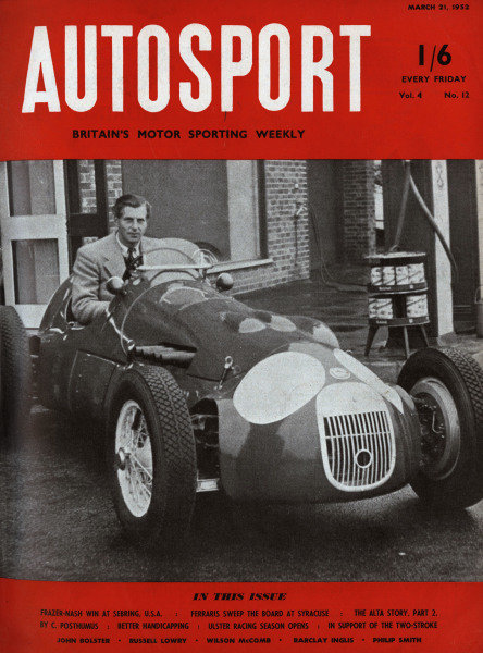 Cover of Autosport magazine, 21st March 1952