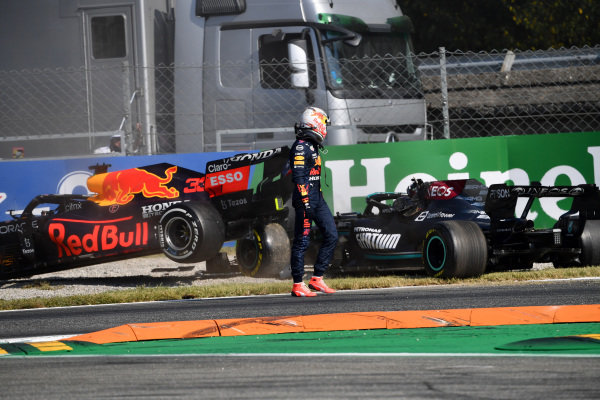 Max Verstappen, Red Bull Racing, walks away from his car after colliding with Sir Lewis Hamilton, Mercedes W12