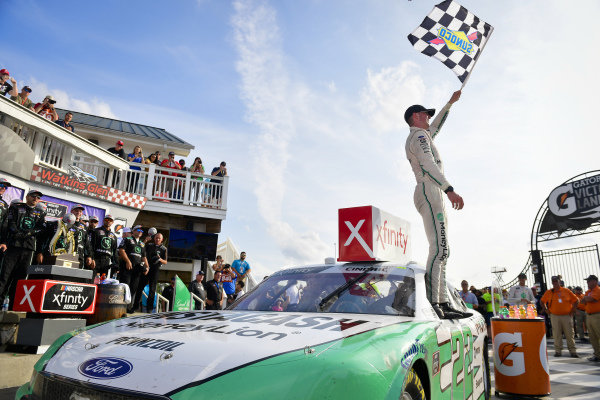 #22: Austin Cindric, Team Penske, Ford Mustang MoneyLion celebrates after winning